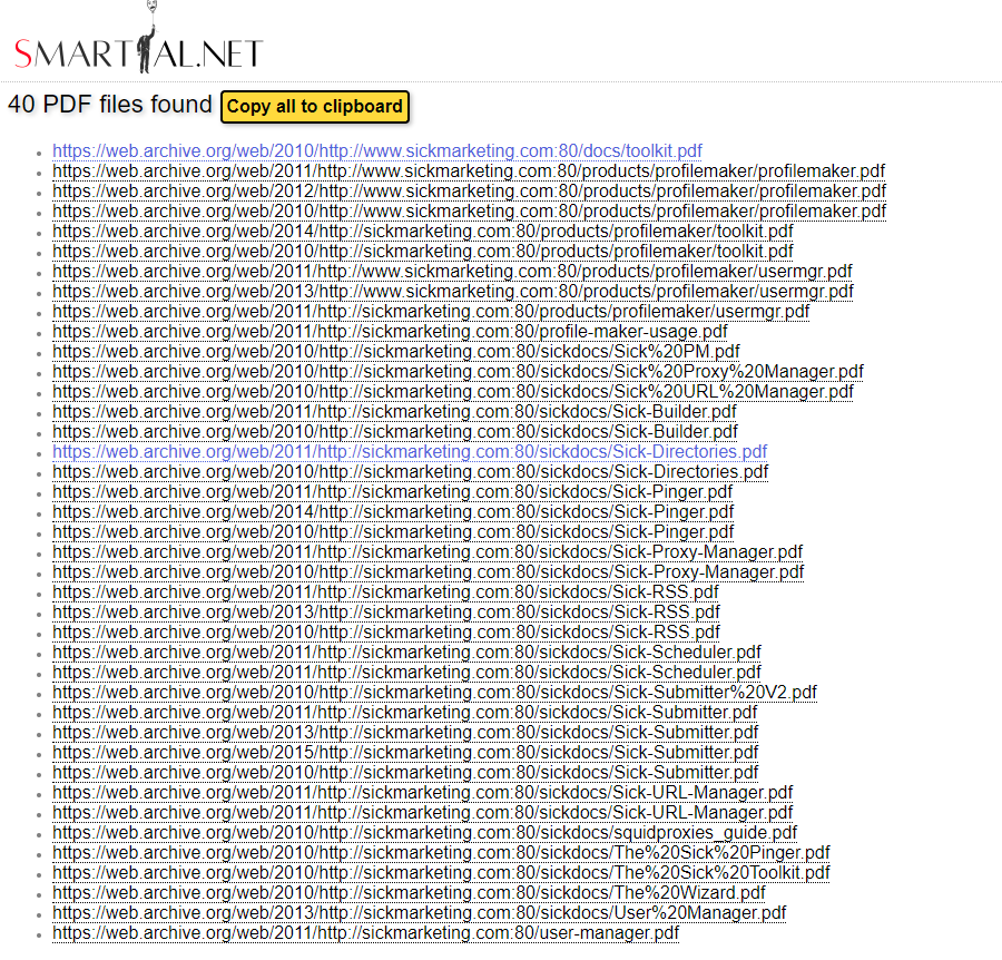 Smartial PDF Sniffer finds expired PDF files from archived Sickmarketing website
